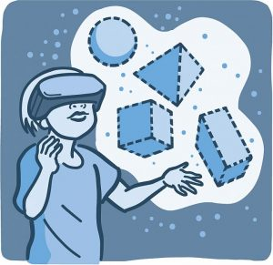 Illustration of child using virtual reality touching shapes