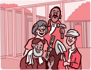 Illustration of older adults volunteering to build a house