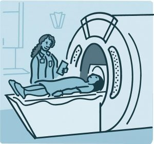 Illustration of a person getting an MRI