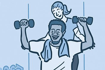 illustration of man lifting weights with a personal trainer assisting him