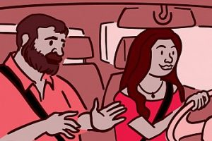 illustration of a passenger in a car talking to driver