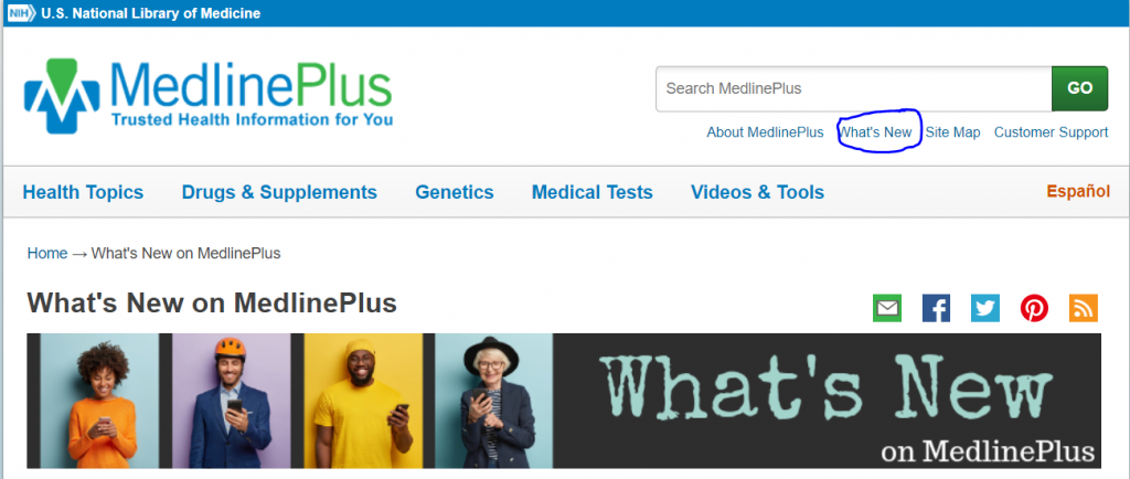 MedlinePlus What's New webpage