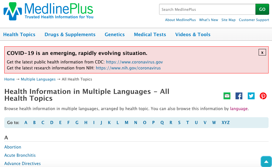 MedlinePlus's collection of health information resources in multiple languages, organized by health topic