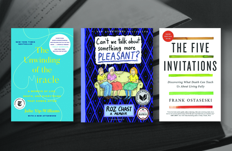 NNLM Reading club titles for the month of April: The Unwinding of the Miracle; Can't we talk about something more pleasant?; The Five Invitations.