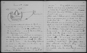 Photo of Alexander Graham Bell's lab notebook describing the first workable telephone.