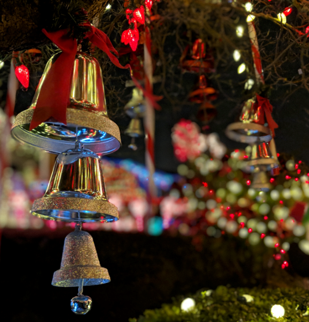 photo of bells and holiday lights