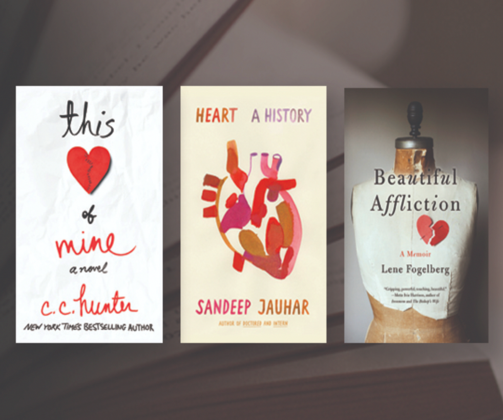 The three February book titles are This Heart of Mine by CC Hunter, Heart, A History by Sandeep Jauhar and Beautiful Affliction by Lene Fogelberg