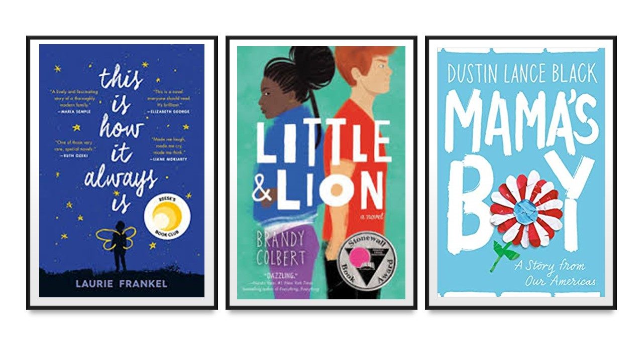 Book jacket covers for This is How it Always Is, Little and Lion, and Mama's Boy