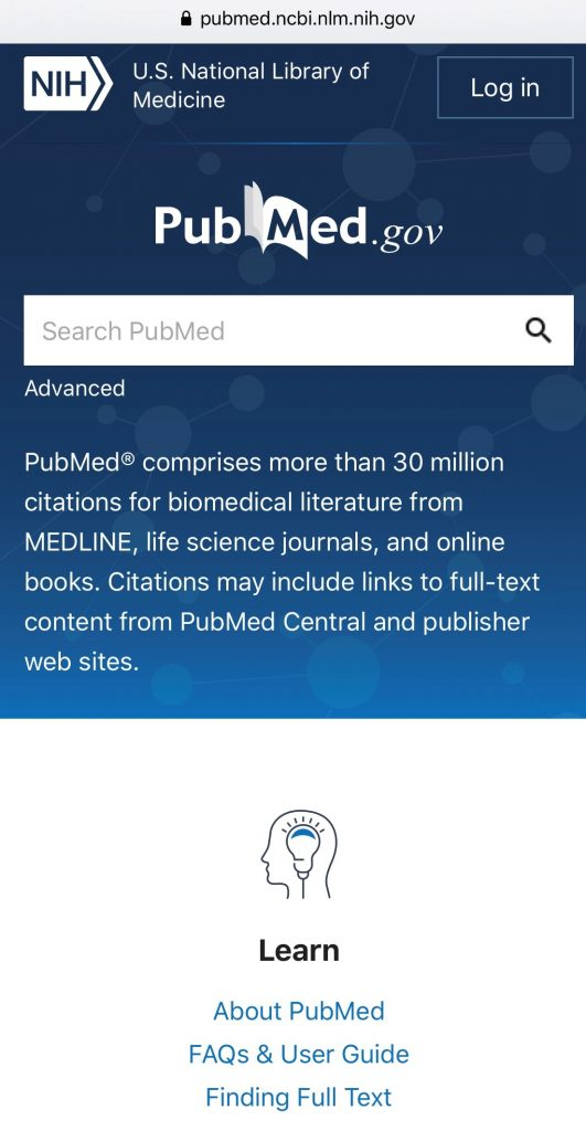 Screenshot of the new PubMed homepage accessed on a mobile device, including basic search.