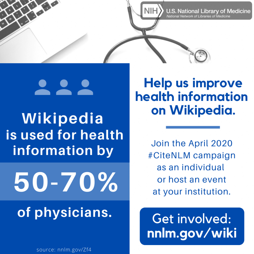 Wikipedia is used for health information by 50-70% of physicians. Help us improve health information on Wikipedia.